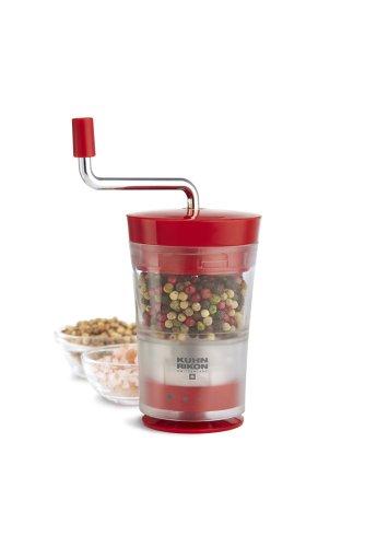 Kuhn Rikon Classic Grind Ceramic Salt, Pepper and Spice Grinder, Clear/Red ()