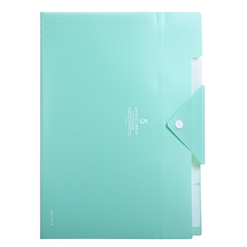 Skydue PP Expanding File Folder Accordion Documents Letters Organizer, 5 Pockets, A4 Size (Light Blue)