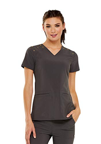 HeartSoul Love Always Women's V-Neck Studded Solid Scrub Top X-Large Pewter