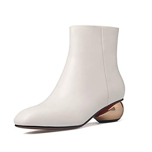 White Women's Unusual Thick Heels Ankle Boots Square Toe Zip Footwear Cow Leather Female Boot New shoes