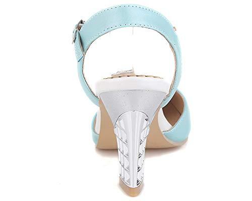 à Haut Talon Couleur Sandales TSFLH007591 Boucle AalarDom Femme Bleu Unie 5Etvqw