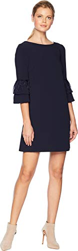 Tahari ASL Women's Stretch Crepe Sheath Dress Feather Sleeve Detail Navy -