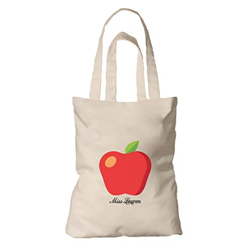 Personalized Custom Text Apple Miss Teacher Organic Cotton Tote Bag Tote