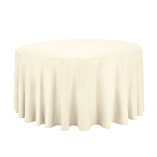 "Craft and Party - 10 pcs Round Tablecloth for Home, Party, Wedding or Restaurant Use. (120"" Round Ivory)"