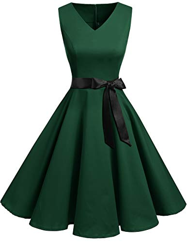 Bridesmay Women's V-Neck Audrey Hepburn 50s Vintage Elegant Floral Rockabilly Swing Cocktail Party Dress Dark Green M