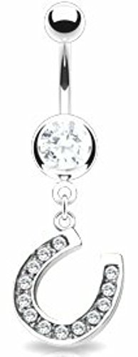 Belly Button Ring Navel Horseshoe Body Jewelry 14 Gauge Horse Shoe ()