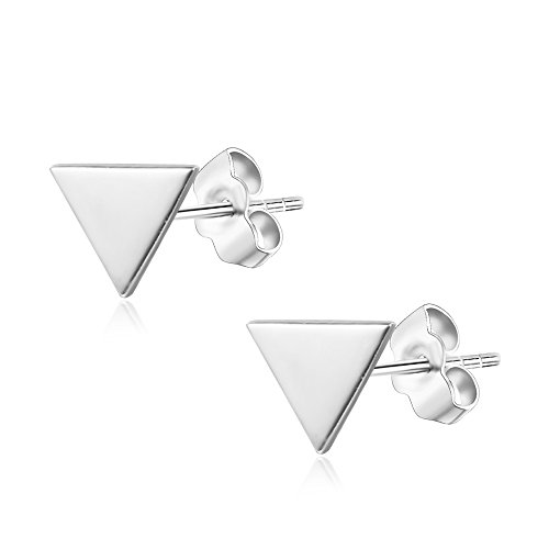 Womens Sterling Silver Delta Triangle Studs Push-Back Earrings in Sterling Silver White Gold Finish