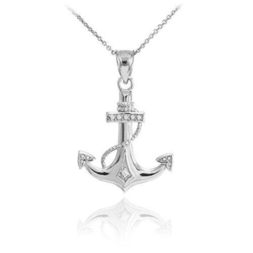 (Fine 14k White Gold Diamond-Accented Fouled Anchor Pendant Necklace, 16