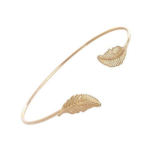 Leaf Cuff Bracelet (Gold Leaf Opened Cuff Adjustable Bangle Wire Bracelet)