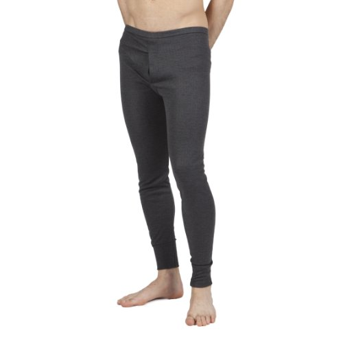 Mens Thermal Underwear Long Johns (British Made) (Waist: 30-32inch (Small)) (Charcoal)