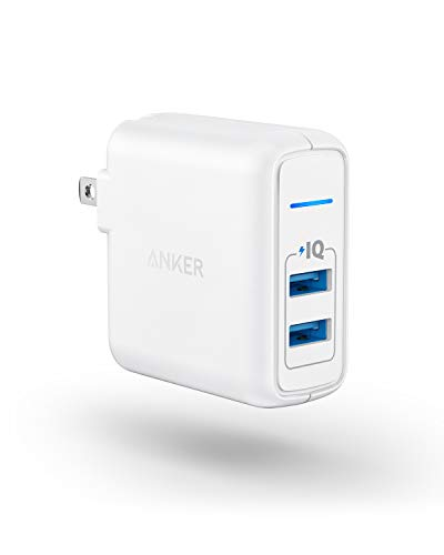 USB Charger, Anker Elite Dual Port 24W Wall Charger, PowerPort 2 with PowerIQ and Foldable Plug, for iPhone 11/Xs/XS Max…