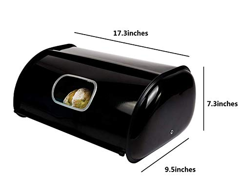 THRICH Deluxe Steel Modern Bread Box Storage with Roll up Lid, Clear Visual Window, Bright Black, 755oz (22L) by THRICH (Image #6)