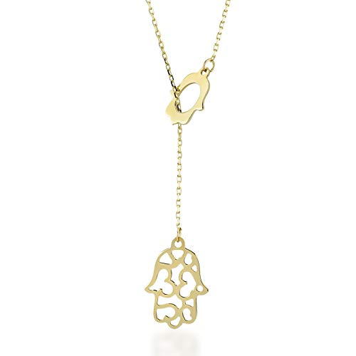 Gelin 14k Yellow Gold Hamsa Hand of Fatima Chain Necklace for Women - A Perfect Surprise Gift for Her, 18 inch