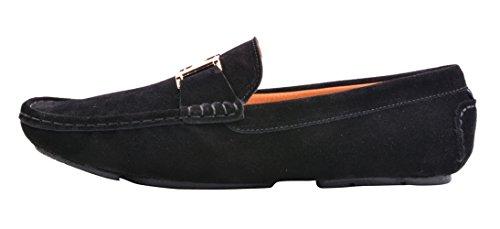 Santimon Mens Nubuck Leather Gold Buckle Loafers Driving Car Shoes Moc Shoes Black UozS6xVa4S