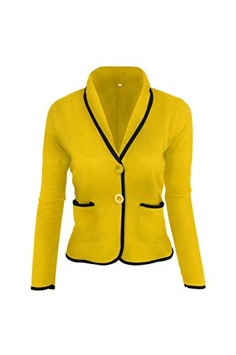 Tasche Button Con Lunga Blazer Primaverile Tailleur Slim Vintage Chic Misti Donna Giallo Colori Giacche Moda Autunno Casual Da Eleganti Manica Giacca Cappotto Fit 0qUtnwHRtv
