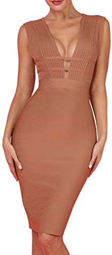 UONBOX Women's Sleeveless Deep Plunge V Neck Night Club Party Bandage Dress with Waist Straps