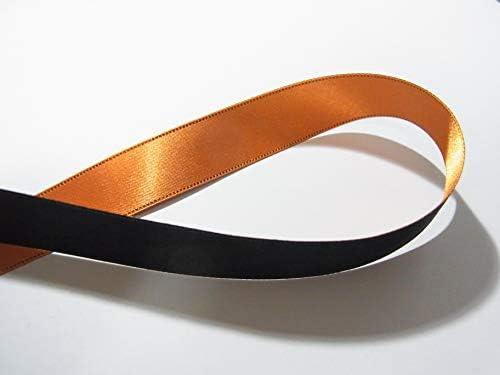 リバーシブルリボン オレンジx黒 18mm巾x3mセット