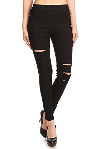 JVINI Women's Ultra Stretch Pull-On Skinny Ripped Jean Jegging Pants (Medium, Black) (Stretch Twill Slip)