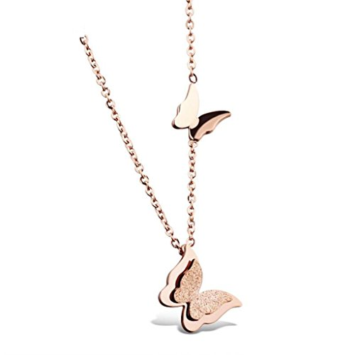 Stainless Steel Double Butterfly Necklace (Gold) - 1