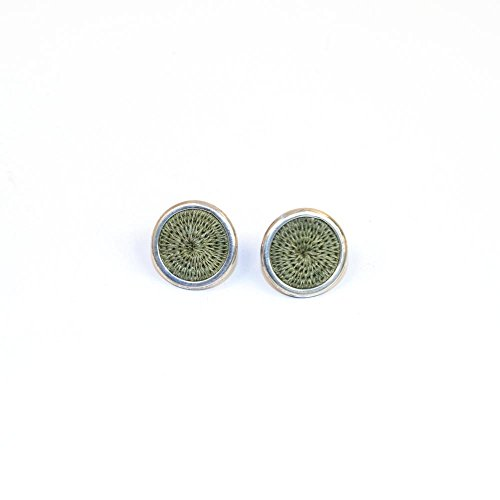 Fair Trade Sisal and Alloy Mini Classic Disk Bezel Stud Earrings, Olive, SJE56OL by Baskets of Africa