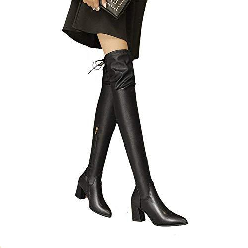 Lateral Elegantes Cremallera Eu Grueso Con 39 Mujer Eu Vendaje Botas Deed Rodilla De 36 Elástico negro Mujer nqw1T4YU