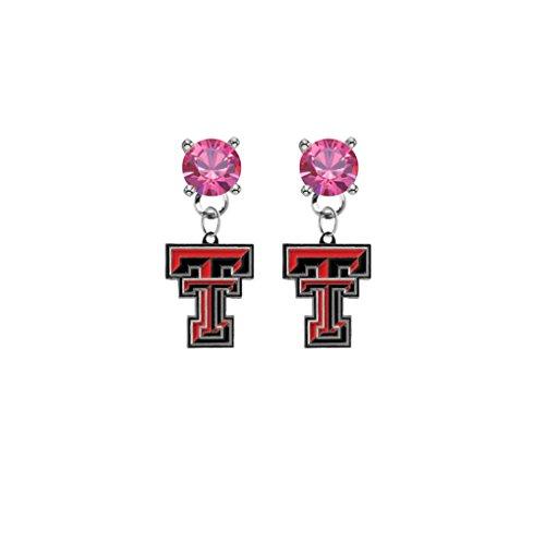 (Texas Tech Red Raiders Pink Crystal Stud Post Dangle Earrings)