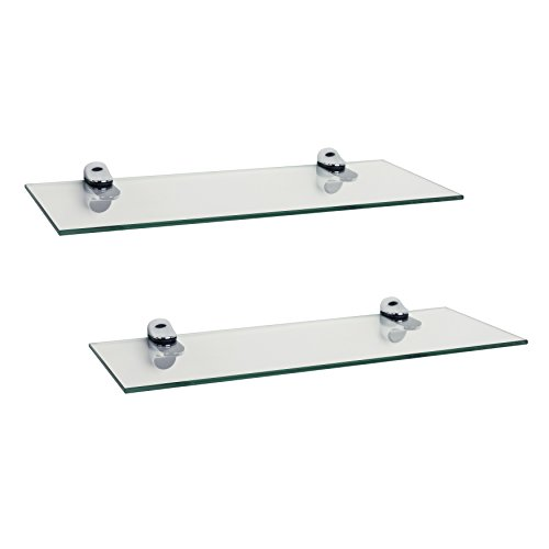 Danya B Set of 2 Clear Glass Floating Shelves with Chrome Brackets ()