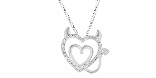 Jewel Zone US Natural Diamond Accent Devil Double Heart Pendant Necklace in 14k White Gold Over Sterling Silver