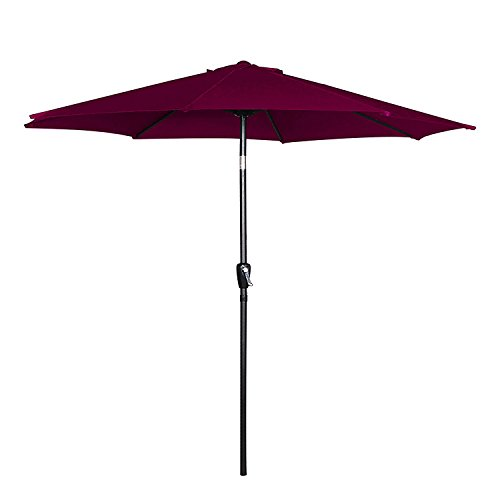Cloud Mountain 9 Patio Umbrella, Outdoor Market Umbrella with Push Button Tilt and Crank, Aluminum Table Umbrella Outside 100 Polyester, Burgundy