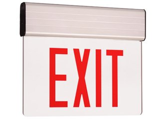 Edge Lit Exit Sign - RED LED - Aluminum Housing- Battery Back up - 120 or 277 volt - Code complaint - Universal Mount - Arrows included
