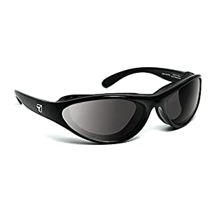 7eye by Panoptx Viento Frame Sunglasses with Gray Lenses, Glossy Black, Small/Medium