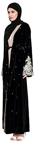 Abaya Nachgeahmte Ababalaya EU Perlen Spitze 36 Islamische Samt Kleid Größe Übergröße Länge Damen mit 52 Gürtel Muslimische q11wt0F