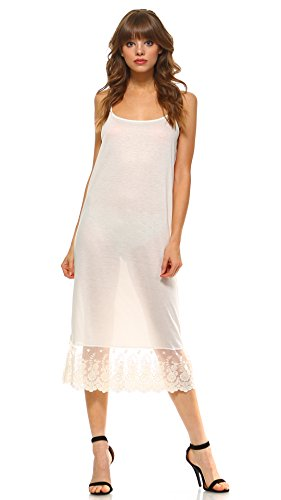 Long Lace Full Slip Solid Knit Cami Dress Extender with Adjustable Straps (Ivory, Large)
