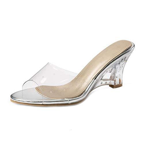 MIOKE Women's Clear Wedge Slide Sandals Fashion Crystal Open Toe Slip On Comfort High Heel Dress Sandal Silver