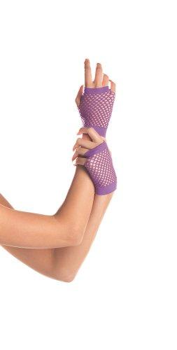 Wicked Kitty Costume (Be Wicked Women's Wrist Length Fingerless Fishnet Gloves, Purple, One)
