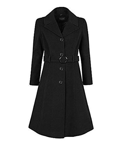 De La Creme Anastasia-Black Womens Winter Cashmere Belted Coat Size 6