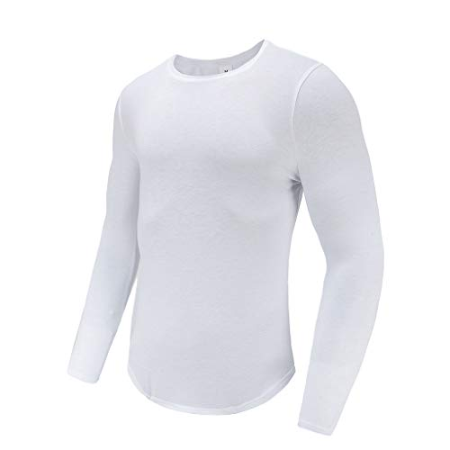 asual Solid Long Sleeve Pullover Sweatshirt T-Shirt Top Blouse(M,White) ()
