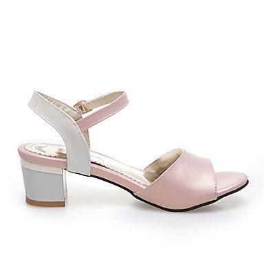 LvYuan Mujer-Tacón Robusto-Otro-Sandalias-Informal-Semicuero-Negro Rosa Plata Pink
