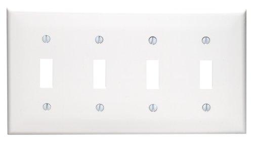 White Plastic Wall Plate (Leviton 80712-W 4-Gang Toggle Device Switch Wallplate, Standard Size, Thermoplastic Nylon, White)