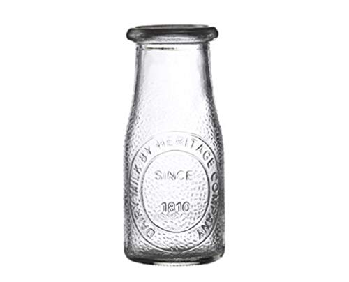 HERITAGE GLASS COMPANY MILK JAR 16 OZ-Great for Drinking Glass, Trendy, Retro, Multi-use Milk Bottle in hard to find 16 oz size (set of 4)