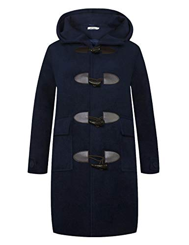 (APTRO Women's Hooded Horn Button Wool Coat Long Casual Winter Coats WS03 Navy L)