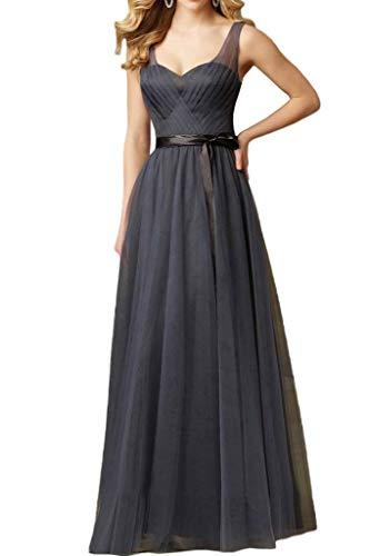 Abendkleider Linie Breit Grau Lang Traeger Braut Brautjungfernkleider Celebritykleider mia Elegant La A FHY6F