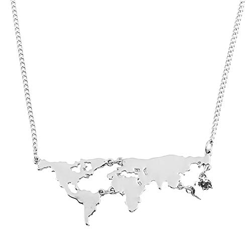 lightclub Fashion Women World Map Shape Pendant Chain Necklace Party Jewelry Birthday Gift - Silver Elegant Necklace for Women