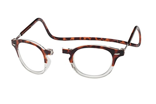 Clic Magnetic Vintage Oval Reading Glasses in Demi-Tortoise Clear ; +2.50