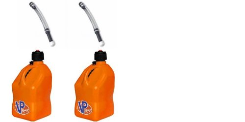 Safety Dispensing Jugs - 2 Pack VP 5 Gallon Square Orange Racing Utility Jugs with 2 Deluxe Filler Hoses