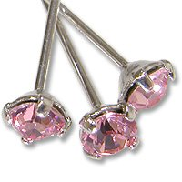 Swarovski Head Pin 1-1/2 inch Light Rose Sterling Plated (Package of 4)