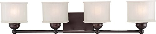 (Minka Lavery Wall Light Fixtures 6734-167, 1730 Series Reversible Glass Bath Vanity Lighting, 4 Light, 400 Watts, Bronze)