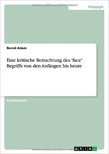 Book Eine kritische Betrachtung des 'face' Begriffs von den Anfängen bis heute