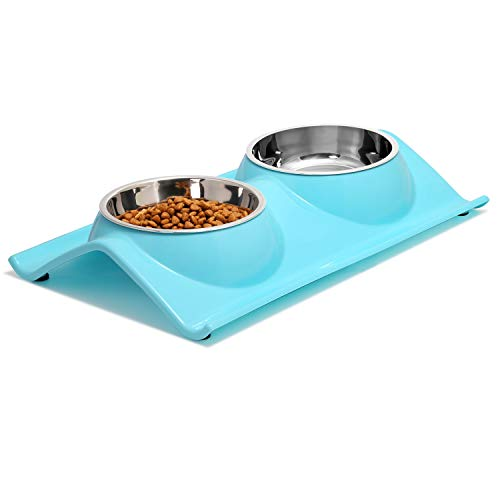 (UPSKY Double Dog Cat Bowls Premium Stainless Steel Pet Bowls No-Spill Resin Station, Food Water Feeder Cats Small Dogs (Sky Blue))
