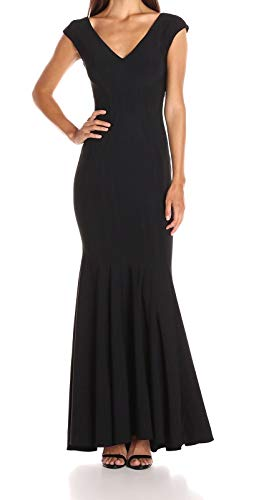 Betsy & Adam Women's Long Fused Jersey V Neck, Black, 8 (Evening Adam Gown Betsy &)